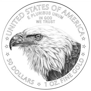 2021 American Eagle Gold Coin Line Art on Silver American Eagle Coin