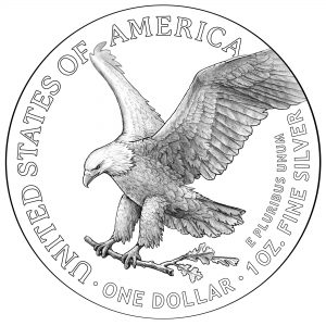 2021 American Eagle Silver Coin Line Art on Silver American Eagle