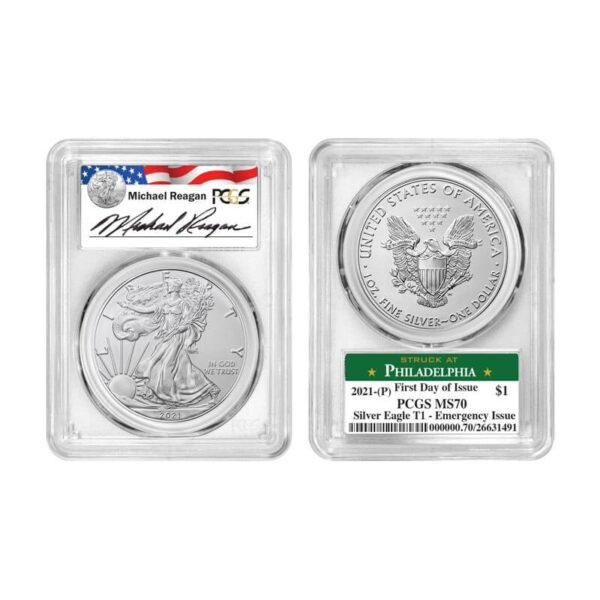 2021 Silver American Eagle Reagan 3 Coin Set
