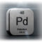 Large metal example of palladium as seen on the periodic table of elements