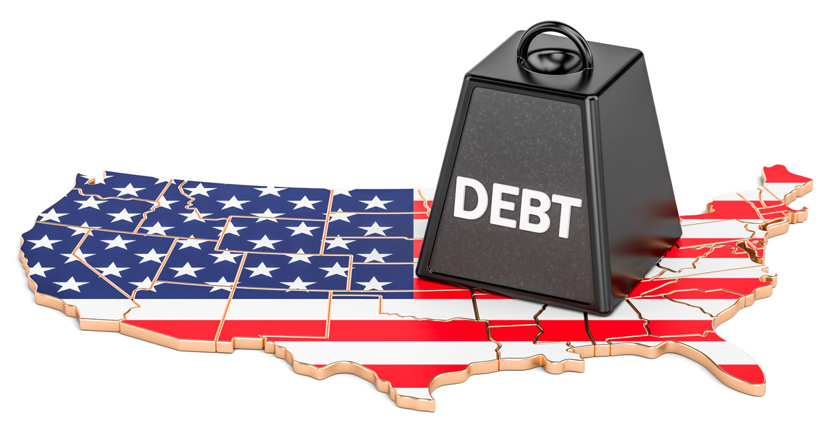"""Weight labeled """"DEBT"""" causes cracks in a map of the United States"""